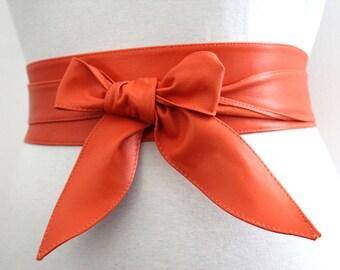 Orange soft Leather Obi Belt tulip tie| Bridesmaid Sash Belt | Real Leather Belt| Handmade Belt | Wrap Belt