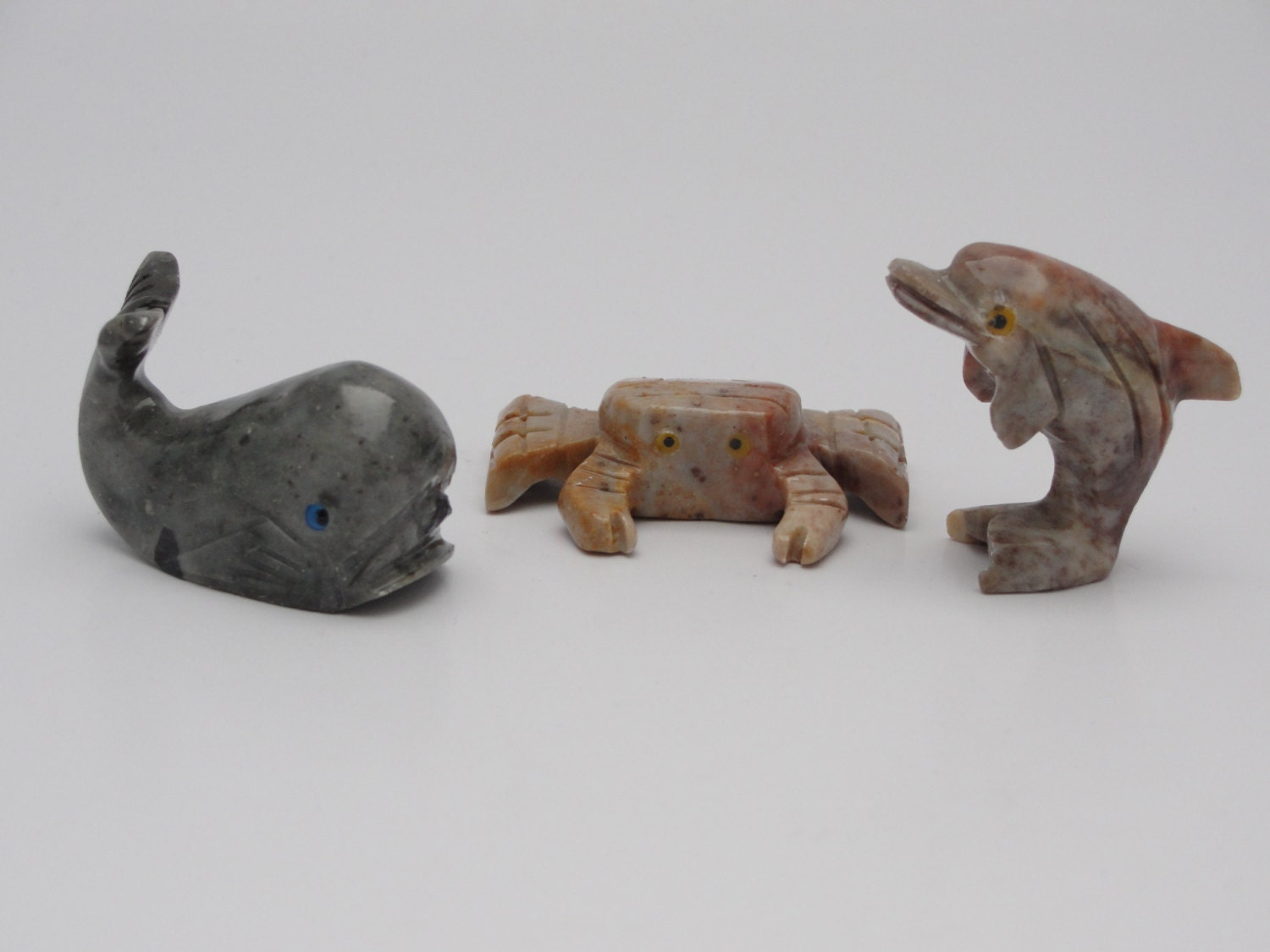 Hand carved soap stone animal set by earthdesignstones