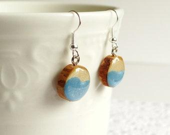 Wooden dangle earrings, wood slice earrings, hand painted wood earrings,reclaimed wood jewelry, turquoise earrings (0079)