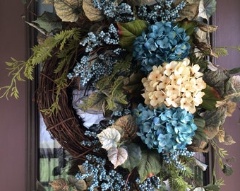 Summer Wreath, Spring Wreath,  Front Door Wreath, Hydrangea Wreath