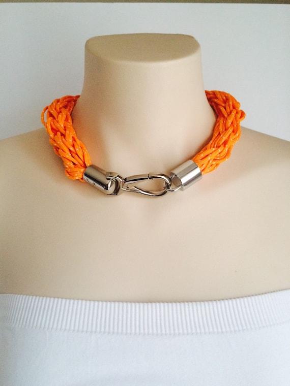 Finger Knit Shoelace Necklace | Orange | iNecklace v1.0