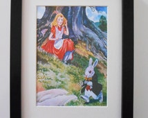 478 - Beautiful Alice in wonderland print, Print with frame, White rabbit, Art, Art print, Vintage, Drawing, Bedroom present, Girls print