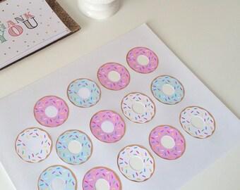 """2"""" mini donut sticker sheet"""
