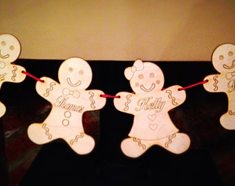 Gingerbread family festive bunting