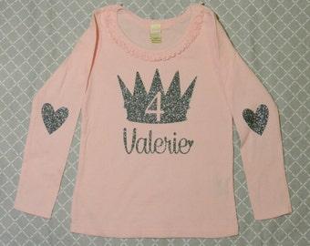 Birthday Long Sleeve Shirt  Light Pink with Silver Black Glitter