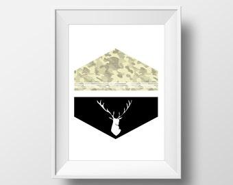 Camo Deer 8x10 Print | INSTANT DOWNLOAD Digital PDF