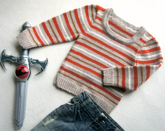 Wool children sweater,striped sweater, brown beage white orange jumper