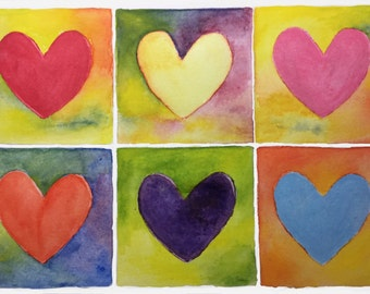 Heart painting. Romance Painting. Colourful Hearts.Wedding Gift.Picture of Hearts. Heart Art. Watercolor Painting of Hearts.