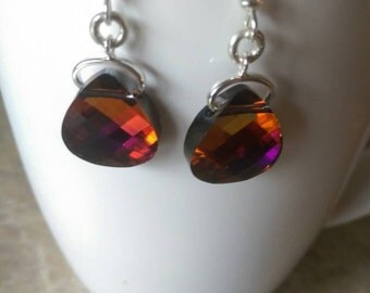 Genuine Swarovski Crystal Briolette dangle earrings in brilliant Volcano.  Handmade