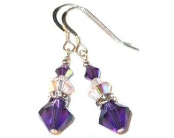CLEAR AB & PURPLE Velvet Crystal Earrings Sterling Silver Dangle Swarovski Elements  - Clip-on or Pierced