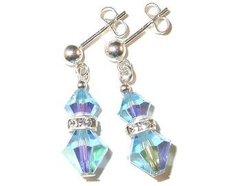 AQUAMARINE Blue Crystal Earrings Sterling Silver Swarovski Elements - Clip-on or Pierced