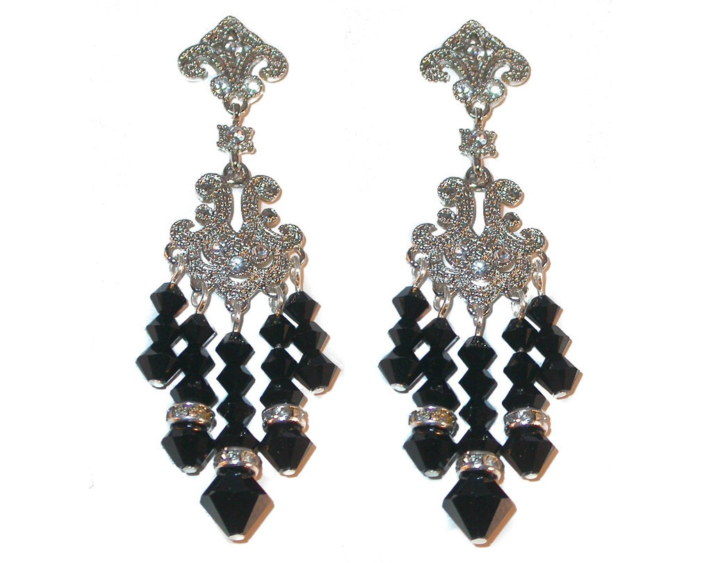jet black chandelier earrings silver prom formal swarovski