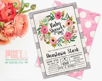 Tea Stained Watercolor Floral Baby Shower Invitation - CUSTOMIZABLE PRINTABLE INVITATION - Watercolor Flower Wreath with Stripes Girl Invite