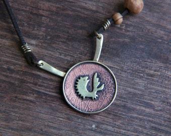 Rustic Fish Necklace, Rustic Sea Necklace, Fish Necklace, Rustic Copper Brass Necklace, Gold Fish Necklace