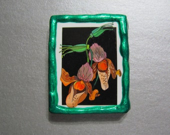 CLEARANCE SALE - Refrigerator Magnet - Exotic Flowers - Yellow & Orange Flowers - Green Frame - Handmade - OOAK