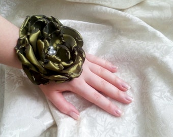 Wrist Corsage, olive green satin flower, bridesmaid Corsage hand made silk flower faux pearls bracelet