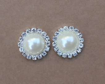 2pcs 21mm Rhinestone Button Ivory Pearl Crystal Button Wedding Invitation Scrapbooking Bridal Brooch Bouquet Cake Decoration DIY