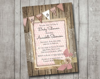 Girl Baby Shower Invitation Rustic Wood Pink Lace Bunting Banner Vintage Shabby Printable Customizable Digital File