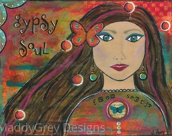 be brave art decor, gypsy soul, boho decor for her, gypsy inspirational art, gypsy art decor, gift for her, gypsy art, feminism, be brave