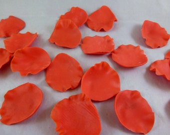 READY TO SHIP - 24 count gumpaste rose petals, red sugar rose petals, Valentine's Day cake decoration, cupcake toppers, wedding cupcakes