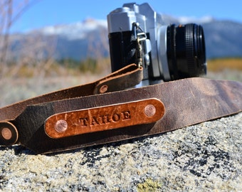 Personalized Oiled Leather Camera Strap by TahoeMade - with  Lobster Swivel Clasps for Quick Attachment