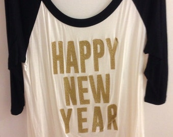 Ladies 3/4 sleeve Happy New Year Sparkle Raglan