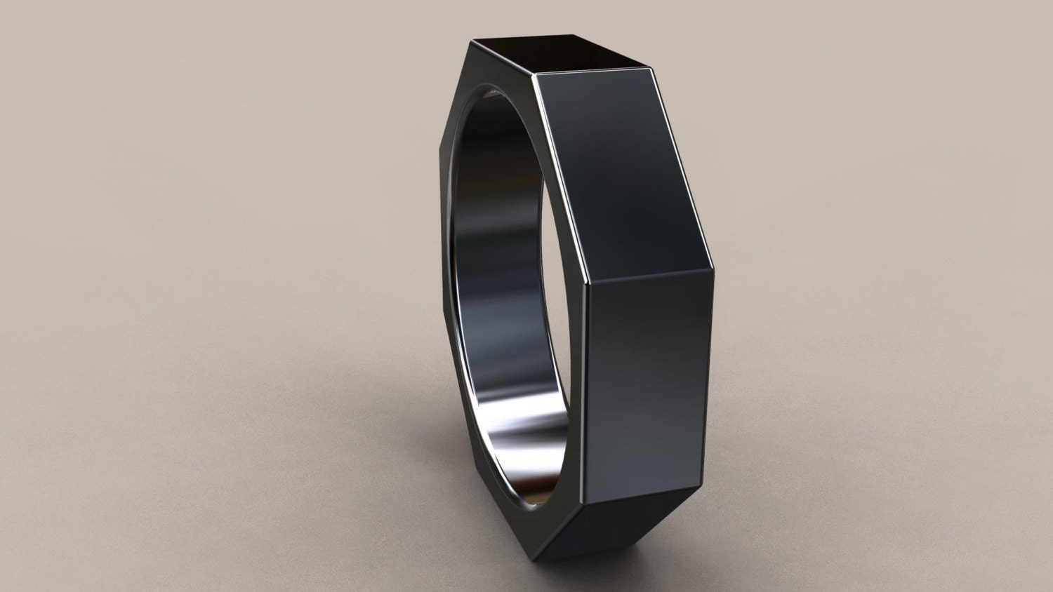 nuts and bolts ring black gold wedding band Black Gold 6mm Mens Wedding Band Octagon 14kt Gold with Black Rhodium Wedding Ring Perfect for a Mechanic Grey Gumetal Nut Bolt Ring