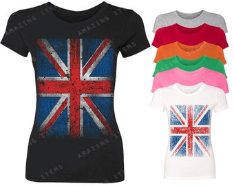 Vintage British Flag Women's T-shirt Union Jack Shirts