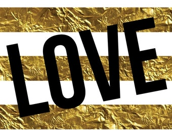 Black and Gold Love Print