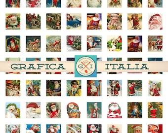 SANTA Claus Collage Sheet - Digital Download .75X.83 Vintage CHRISTMAS Ephemera - Pendants Bezel Tray Resin Scrabble Tiles Craft Supplies
