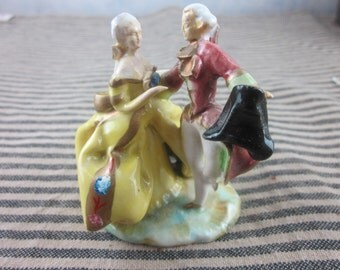 antique french a couple of dancers in colorful ceramic