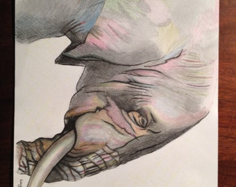 "ORIGINAL Drawing. ""Elephant in Colour"""