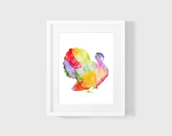 Turkey Watercolour Art Digital Download Printable 8x10 Wall Art Watercolour Abstract Painting Turkey INSTANT DOWNLOAD