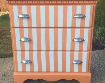 SOLD- Creamsicle Orange & White Stripe 3 Drawer Dresser