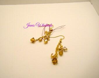 Amber Earrings -  dangle earrings - Cluster earrings - Topaz earrings - Gift - E46