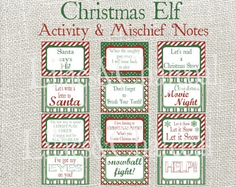 Christmas Elf Activity Cards, Note Cards, Mischief Cards. 32 different cards + 8 blank cards. Instant Digital Download