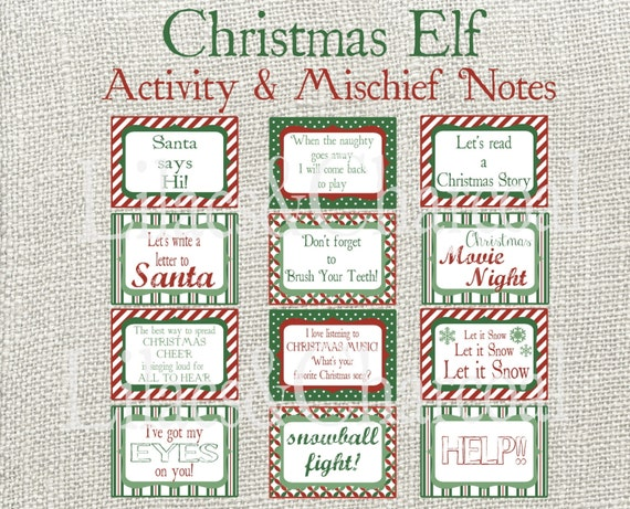 Christmas Elf Activity Cards