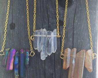 Quartz gold chain necklace titanium, crystal, tangerine stone.