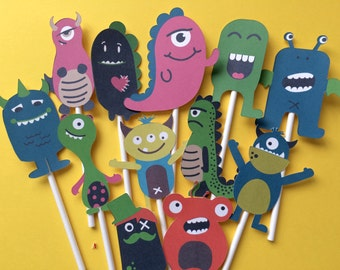 Monster cupcake toppers, Monster toppers, monster cake toppers, monster party supply, toppers monsters, funny Monsters toppers