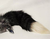 "Tail Plug, 18""/19"" KITTY Tail, Silver Fox, MEOW! MATURE, Detachable or Permanently Attached, Cosplay,bdsm, Fetish Wear, Kitty Tail, Anal"