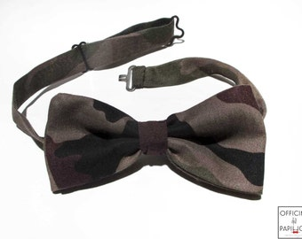 Bow tie handmade green brown camouflage