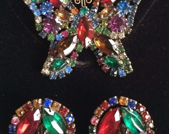 Gorgeous Vintage Weiss Butterfly Brooch Pin & Earrings Set~Multi-Color Rhinestones/Gold tone~Signed