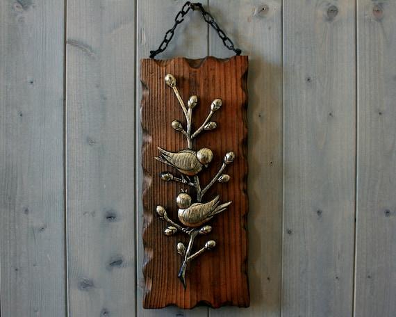 Wooden Birdhouse Wall Decor : Vintage birds wall decor wooden plaque bird art