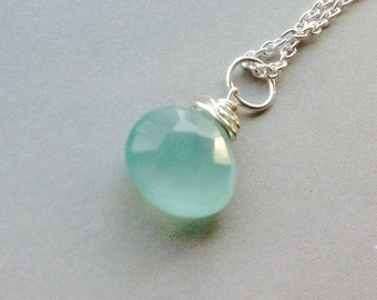 AAA Aqua  Peruvian Chalcedony Pendant Necklace- blue Chalcedony, Chalcedony briolette, blue gemstone, sterling silver