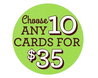 Choose Any 10 Cards - Greeting Card Set, Birthday Cards, Valentine's Day Cards, bulk cards, Special Occasions, Card Sets, Pack of Cards