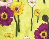 SALE Michael Miller Vignette Gathered Poppies Lime CJ6658-LIME-D Modern Floral