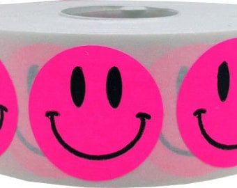 500 Fluorescent Neon Pink Smiley Face Stickers - 1 Inch Round