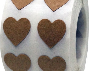 Small Half Inch Natural Kraft Adhesive Heart Stickers | 1,000 Labels
