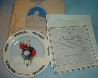 1986 Newell Pottery November by Sarah Stilwell Weber Calendar Collection Plate w Box & COA