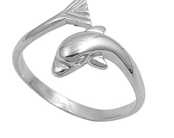 Dolphin Ring 18MM Sterling Silver 925